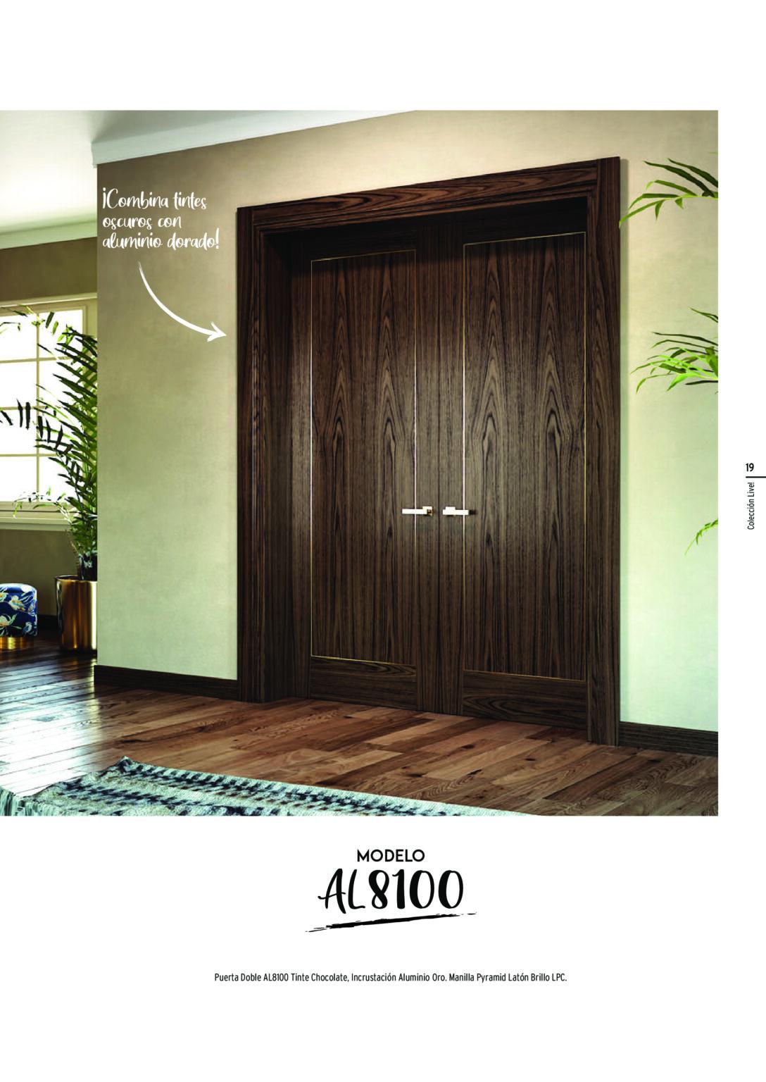 Puerta-Doble-AL8100-Tinte-Chocolate_-Incrustación-Aluminio-Oro.-Manilla-Pyramid-Latón-Brillo-LPC.